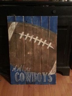 pallet wood signs, crafts, home decor, painting, pallet, woodworking projects, I adore this vintage football with favorite team
