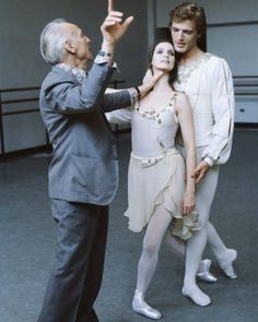 Principals Peter Martins and Suzanne Farrell with Balanchine. New York City Ballet, 1979.