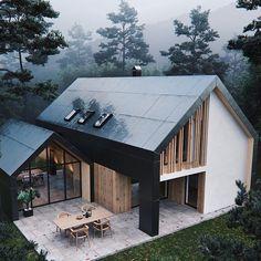 Pavilion House Full CGI on Behance Pavillon Modern Home Design, Modern Homes, Interior Modern, Minimalist Interior, Modern Decor, Interior Design, Modern Cabins, Minimalist Bedroom, Minimalist Decor