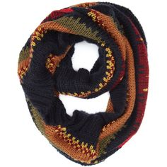 Accessorize Deborah Autumn Stripe Snood (74 BRL) ❤ liked on Polyvore featuring accessories, scarves, accessorize scarves, striped scarves, chunky scarves, striped shawl and snood scarves