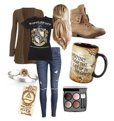 """""""Hufflepuff and Proud"""" by summertime-siren ❤ liked on Polyvore featuring WearAll, H&M and Chanel"""