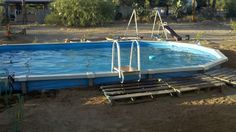 Our pool. Above ground, in ground.. Now we need to landscape around the pool area