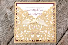 CARRIE - CUSTOMIZED SAMPLE Shimmering Gold Laser Cut Folder with Burgundy Wine Purple and Cream or White Wedding Invitation