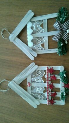 christmas crafts with popsicle sticks 26 ideas craft popsicle stick christmas ornament Christmas Ornament Crafts, Christmas Crafts For Kids, Homemade Christmas, Christmas Projects, Kids Christmas, Holiday Crafts, Christmas Decorations, Christmas Wreaths, Spring Crafts