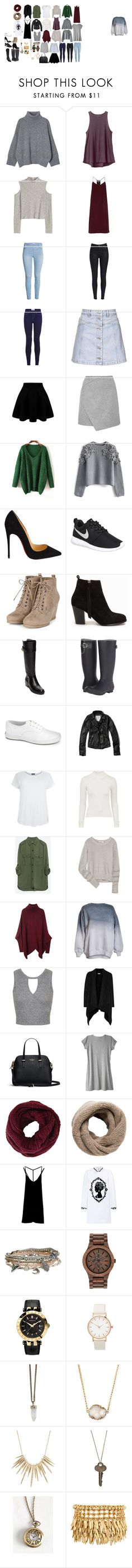 """capsule closet winter"" by emmaw817 ❤ liked on Polyvore featuring RVCA, TIBI, Topshop, Chicwish, Christian Louboutin, NIKE, Nly Shoes, Tommy Hilfiger, Keds and Abercrombie & Fitch"