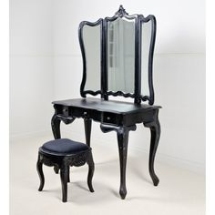 Black Dressing Table Set - oh what id do to have THISSSSSSSSS in my ...