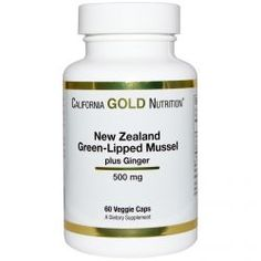 California Gold Nutrition, New Zealand, Green Lipped Mussel Plus Ginger, 500 Mg, 60 Veggie Caps, Diet Suplements ST