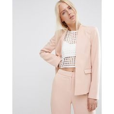 ASOS Structured Edge to Edge Blazer ($81) ❤ liked on Polyvore featuring outerwear, jackets, blazers, pink, asos, structured blazer, asos jackets, pink blazer jacket and lined jacket