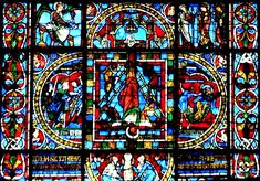 Poitiers Cathédrale le bas du vitrail sur la crucifixion