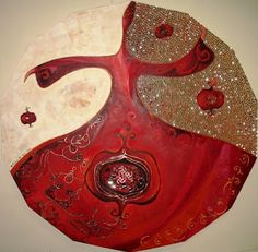 h a t t ı s o u l: round red Abstract Watercolor Art, Stained Glass Crafts, Iranian Art, Arabic Art, Art Techniques, Art For Sale, Art Pictures, Painting & Drawing, Folk Art