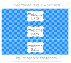 Dodger Blue Checker Pattern Welcome Baby Water Bottle Wrappers