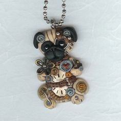 Steampunk Chinese Pug Dog Necklace Polymer Clay by Freeheart1