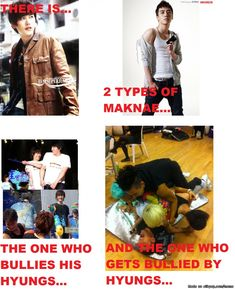 There are two types of maknae. Poor Seungri...always on the bottom....im surprised TOP isn't on top.