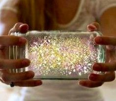 Fairies in a Jar:  Cut a glow stick in half and shake contents into a jar.  Add diamond glitter.  Put lid on jar & shake hard!