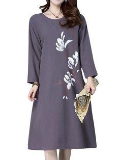 Print Loose Hem Pocket Long Sleeve O Neck Dresses For Women