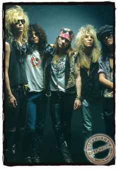 Guns N Roses, the original 5: Duff, Slash, Axl, Steven & Izzy   circa late 1980s