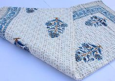 With Fast Shipping Vintage Kantha Hand Stitched Quilt, 100 Percent Indian Cotton, Bohemian Bo Kantha Quilt, Quilts, White Coverlet, Shibori Tie Dye, Queen Size Quilt, How To Make Bed, Hand Stitching, Printed Cotton, Bohemian