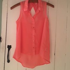 Selling this Sheer Coral Button  Down Tank in my Poshmark closet! My username is: beccahem22. #shopmycloset #poshmark #fashion #shopping #style #forsale #Kirra #Tops