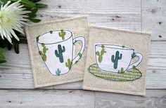 Cactus Coasters Fabric Coasters Cactus Decor Drinks