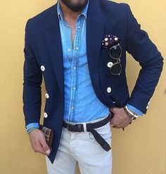 Casual look with denim shirt
