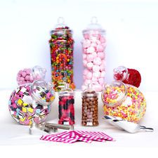 8x Mixed Jars Sweet Shop Candy Buffet Wedding Kids Party Kit Scoops+Tongs+Bags