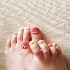 夏/フット/デコ/パステル/ジェルネイル - x_2y8n_xのネイルデザイン[No.958111]|ネイルブック Cute Toe Nails, Toe Nail Art, Love Nails, Pedicure Designs, Toe Nail Designs, Nail Art Courses, Wonder Nails, Feet Nail Design, Japan Nail