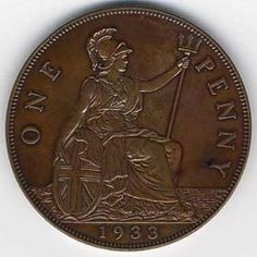 1933 British penny – coin rarities online that features the great British numismatic rarity. The 1933 British penny is one of the most famous and valuable coins from the UK. Gold Bullion Bars, Silver Bullion, Rare Gold Coins, Silver Coins, Coin Value Chart, Rare British Coins, Rare Pennies, English Coins, Coin Dealers