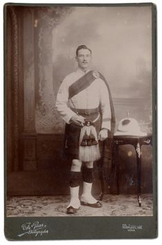 Bandsman Johnie Lawson, 2nd Battalion, The Black Watch (Royal Highlanders). A Cabinet Photograph by Thomas Paar in Darjeeling, India c. 1911