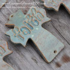 Pottery Cross Cuff Bead in Seagreen with the by CapturedMoments, $5.25