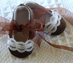 Chocolate Brown and White Polka Dot with Lace by cottagecloset, $23.00