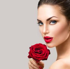 Picture of Beauty fashion model woman face. Portrait with red rose flower stock photo, images and stock photography. Mink Eyelashes, Beautiful Lips, Young And Beautiful, Red Rose Flower, Red Roses, White Background Portrait, Gold Wedding Crowns, Facial Fillers, Play