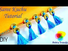 Traditional saree kuchu design wt big holed beads and double colour silk threads for non- crocheters - YouTube
