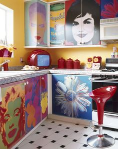 idea for classroom cabinets! except not just Warhol, maybe some other artists < ahh one day when i have my own art room!