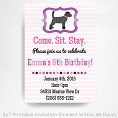Pink Purple Dog Birthday Party Printable Invitation YOU Print Black Lab Party