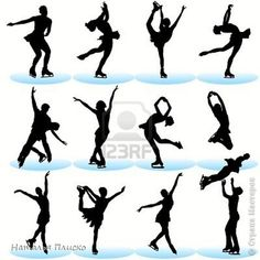 Figure Skating Silhouettes Set Royalty Free Cliparts, Vectors, And Stock Illustration. Ice Skate Drawing, Ice Skating Quotes, Figure Skating Quotes, Skating Pictures, Ice Skaters, Ice Dance, Figure Skating Dresses, Winter Pictures, Drawing Poses