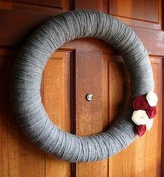 grey yarn wreath