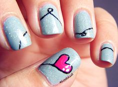 Heart Strings Nails - Nail Polish with Trendy, Cute, Urban, Pink, Black, Date, Blue, Love it!