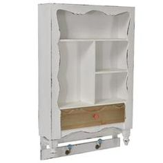 WOODEN WALL SHELF IN WHITE COLOR 48X14X76