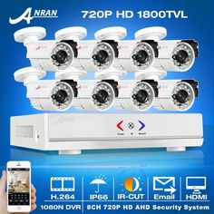 (200.07$)  Buy here - http://aix0l.worlditems.win/all/product.php?id=32710347895 - 2017New! 8CH AHD DVR Security CCTV System+8pcs 1080N 720P 1800TVL HD Outdoor Weatherproof  Bullet Camera Video Surveillance Kit