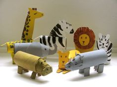 Cardboard tube crafts! A Rhino and a Hippo roll up to the Zoo