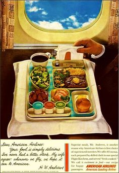 Vintage Airline Travel: American Airlines Inflight Meal c.1960s