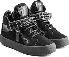 e4a6eac32cc9 Giuseppe Zanotti Shoes - A thick midsole elevates these black suede sneakers  from Giuseppe Zanotti.
