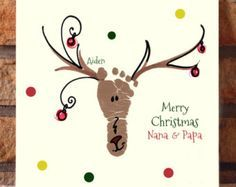 Your Childs Actual Footprints Footprint Art Babys First Christmas Keepsakes Grandpa Gift Mistletoes Plaque