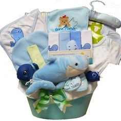 Whale Tails Fishing Fun Blue Baby Boy Gift Basket by Art of Appreciation Gift Baskets. $49.99. It's a whale of a tail and all fishing fun with this great gift basket from the sea. From bath time fun with matching toys, towel and washcloths, to a matching layette set, blanket and more! The reusable blue basket also makes handy storage in your little fishermen's room.Includes: Decorative Plush Whale,Whale Washclothes,Whale Hooded Towel,Gone Fishing Blanket,Matching Cap,Go...