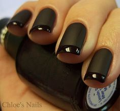 cool black french mani