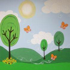 Artist Ellen Leigh painted this Cartoon Park Mural in a Canton, MI day care center. It's a great, fun design, brightening up the play space. Childrens Wall Murals, Kids Room Murals, Murals For Kids, Art For Kids, Kids Rooms, Scenery Drawing For Kids, Painting For Kids, Cartoon Park, Kids Backyard Playground