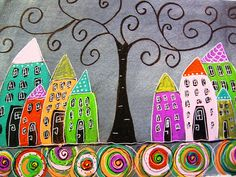 curly tree with houses
