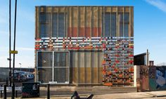 LYN Atelier built a temporary community center in Hackney Wick using recycled materials from the London 2012 Olympic Games.