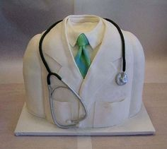 Doctor cake - Great idea for Justin's graduation from med school Crazy Cakes, Fancy Cakes, Cute Cakes, Fondant Cakes, Cupcake Cakes, Fondant Bow, Fondant Tutorial, Fondant Flowers, Fondant Figures