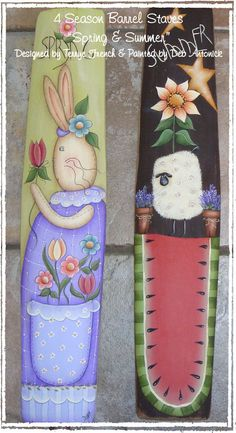 4 Season Barrel Staves Spring and Summer by by PaintingWithFriends